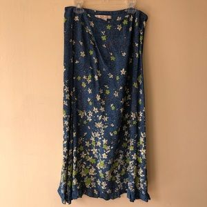 Free People Blue Skirt with green flowers